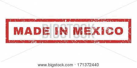 Made In Mexico text rubber seal stamp watermark. Caption inside rectangular shape with grunge design and dust texture. Horizontal vector red ink emblem on a white background.