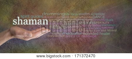 Shaman Rustic word cloud Banner - male palm facing up with the word SHAMAN hovering above  surrounded by a word cloud on a wide warm colored grunge stone effect background
