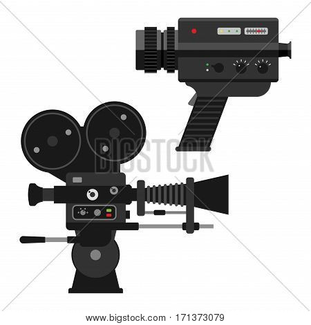 Camera video optic on white background. Different types objective retro equipment, professional look. Digital vintage technology electronic aperture device.
