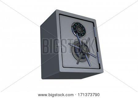 Steel money safe isolated on white - 3d rendering