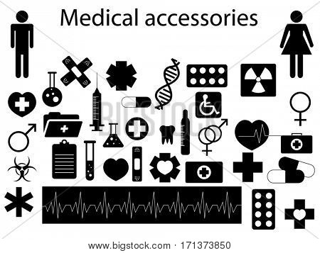 Medical accessories silhouettes