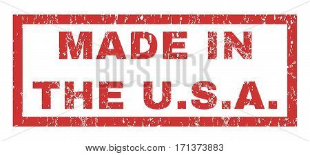 Made In The U.S.A. text rubber seal stamp watermark. Tag inside rectangular banner with grunge design and dust texture. Horizontal vector red ink sign on a white background.