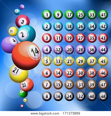 Lottery or lucky six bingo balls
