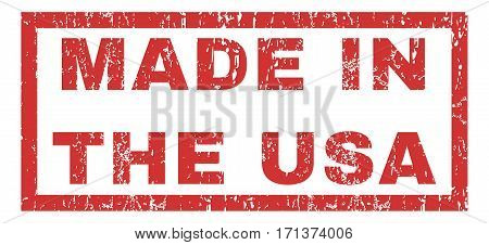 Made In The USA text rubber seal stamp watermark. Caption inside rectangular banner with grunge design and dirty texture. Horizontal vector red ink sticker on a white background.