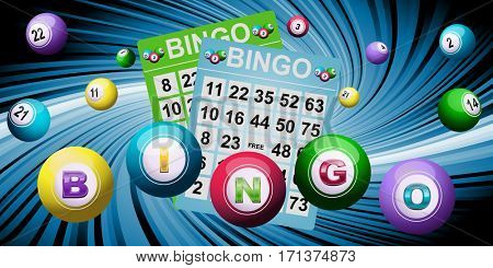 Bingo tickets and balls as lotto background