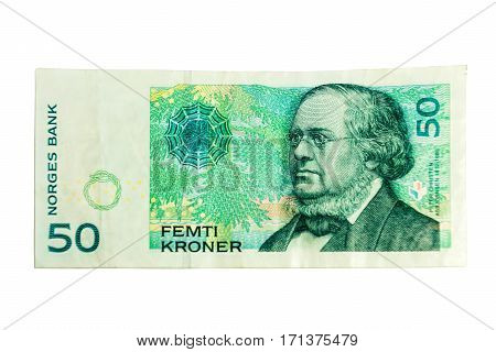 Close up of 50 NOK Norwegian crones paper bank notes isolated over white background.