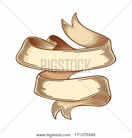 Vintage colored swirl ribbon isolated on white background. Vector illustration of vintage engraving ribbon tape for menu, poster, web and label. Hand drawn in a graphic style.