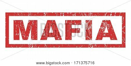 Mafia text rubber seal stamp watermark. Tag inside rectangular shape with grunge design and scratched texture. Horizontal vector red ink sign on a white background.