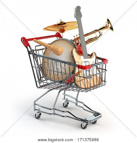 Shopping cart with music instruments isolated on white. Guitar, trumpet and drum. 3d illustration