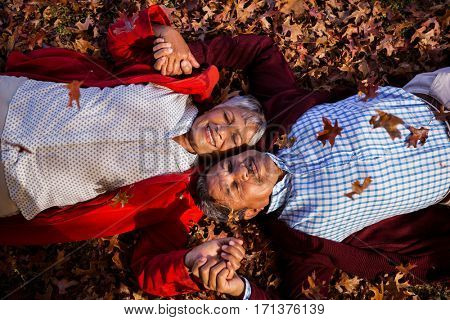 Directly above shot of mature couple relaxing on field at park during autumn