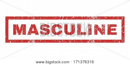 Masculine text rubber seal stamp watermark. Caption inside rectangular banner with grunge design and dirty texture. Horizontal vector red ink sticker on a white background.