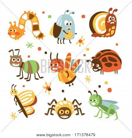 Funky Bugs And Insects Collection Of Small Animals With Smiling Faces And Stylized Design Of Bodies. Friendly Childish Creative Micro Fauna Prints In Bright Cartoon Colors On White Background.