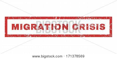 Migration Crisis text rubber seal stamp watermark. Tag inside rectangular banner with grunge design and unclean texture. Horizontal vector red ink sticker on a white background.