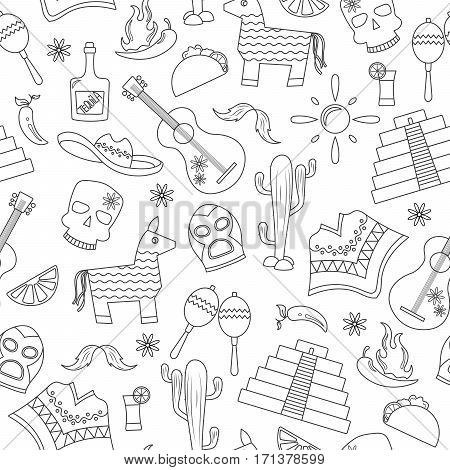 Seamless pattern on the theme of recreation in the country of Mexico contour icons on white background