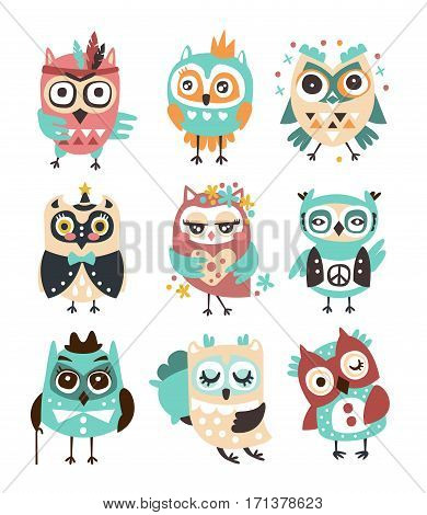 Stylized Design Owls Emoji Stickers Set Of Cartoon Childish Vector Characters With Funky Elements. Cute Night Birds Different Situations And Activities Series Of Vector Illustrations.