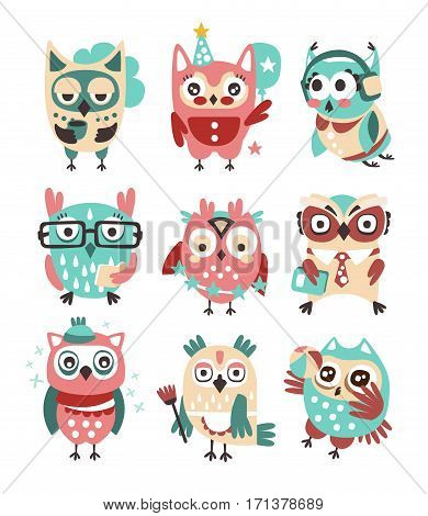Stylized Design Owls Emoji Stickers Collection Of Cartoon Childish Vector Characters With Funky Elements. Cute Night Birds Different Situations And Activities Series Of Vector Illustrations.