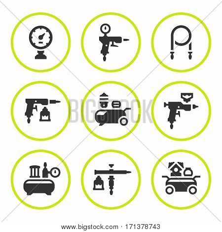 Set round icons of compressor and accessories isolated on white. Vector illustration