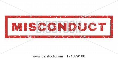 Misconduct text rubber seal stamp watermark. Tag inside rectangular shape with grunge design and unclean texture. Horizontal vector red ink sign on a white background.