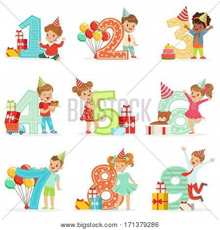 Little Children Birthday Celebration Set With Adorable Kids Standing Next To The Growing Digits Of Their Age. Happy Birthday Fun Illustrations With Toddlers And Young Teens In Cartoon Colorful Style