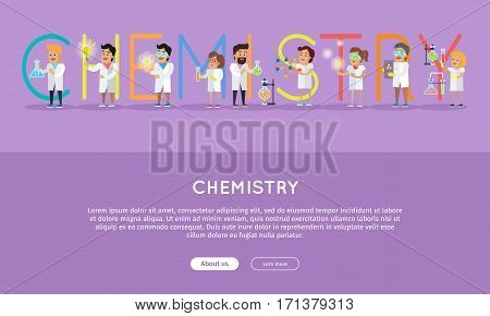 Chemistry conceptual vector web banner. Flat style. Scientists characters at work. Horizontal illustration for educational online services, startups, corporate web sites, business landing pages design