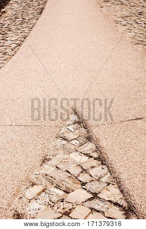 Walkway divides to the right and left. Way of decision
