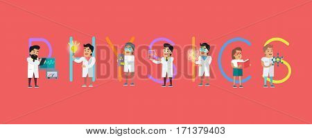 Physics conceptual vector. Flat style design. Scientist characters with lab instruments and educational models. Practical science innovations. Laboratory tests and demonstration. On red background
