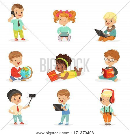 Small Kids Using Modern Gadgets And Reading Books, Childhood And Technology Series Of Cute Illustrations. Adorable Toddlers Using Different Devices Collection Of Cartoon Characters.