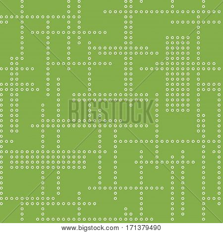 Abstract seamless techno pattern. Vector greenery background