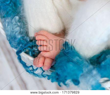 sweet tiny newborn feet on fluffy blanket, closeup