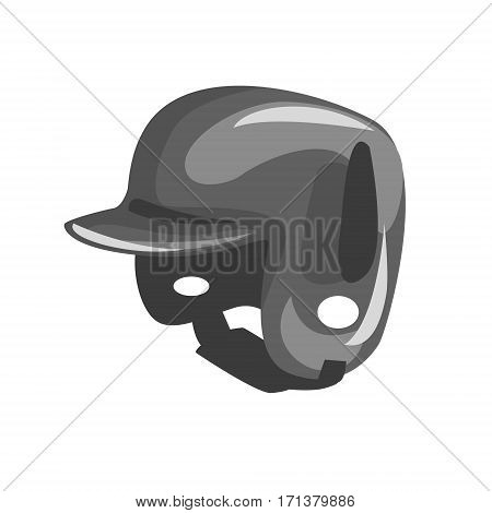 Black Plastic Helmed For Head Protection, Part Of Baseball Player Ammunition And Equipment Set Isolated Objects. Cartoon Realistic Sport Related Item Vector Illustration