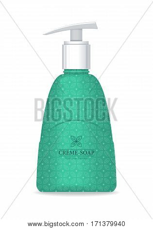 Cream soap natural series. Liquid soap. Green plastic tube with pump for cosmetics on white background. Product for body care, beauty, health, freshness, youth, hygiene. Realistic vector illustration