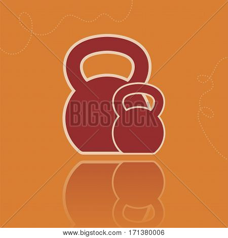 Vector vintage kettlebell icon with reflection. Flat style illustration on the orange background.