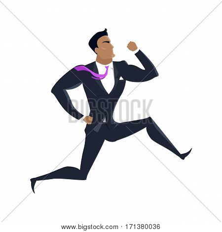 Businessman vector in flat design. Male character in business clothing running. Competition and career concept. Illustration for companies ad, presentations, infographics. Isolated on white.