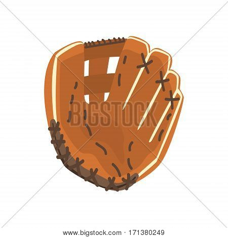 Catcher Leather Glove, Part Of Baseball Player Ammunition And Equipment Set Isolated Objects. Cartoon Realistic Sport Related Item Vector Illustration