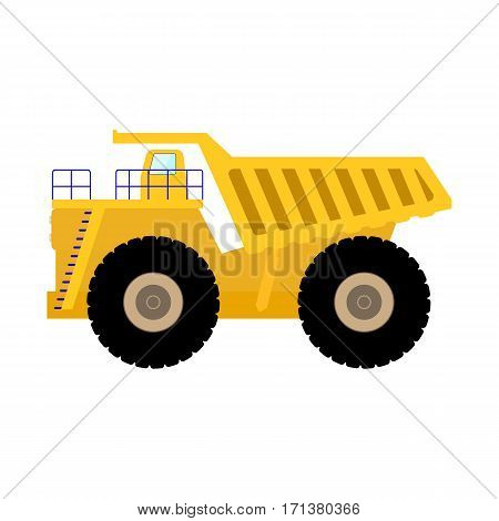 Vector illustration of cartoon big heavy dump truck. Isolated on white background. Flat style. Icon yellow tipper.