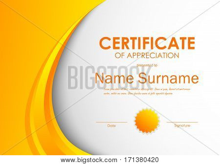 Certificate of appreciation template with orange light dynamic wavy background and seal. Vector illustration