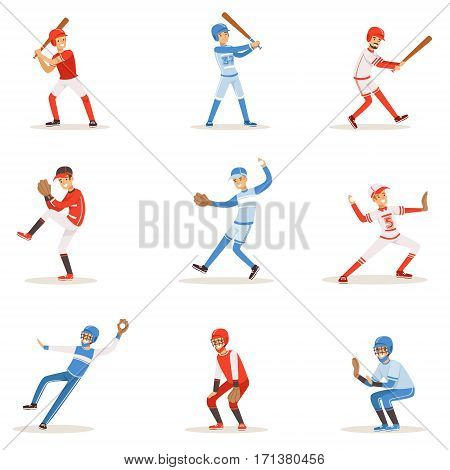 Professional League Baseball Players On The Field Playing Baseball, Sportsmen In Uniform Set Of Vector Illustrations. Sportive Professionals Catchers, Pitchers And Batters Cartoon Smiling Character.