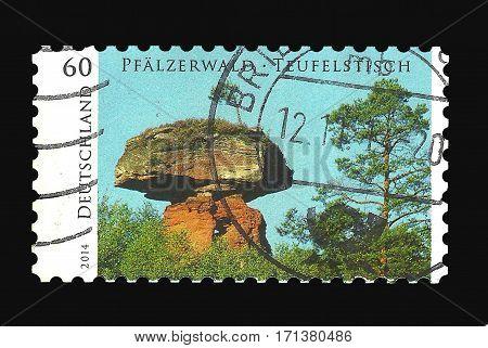 Postage Stamp : Germany 2014 The Teufelstisch in Pfälzerwald in Germany