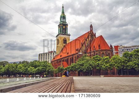 St. Mary's Church known in German as Marienkirche is a church in Berlin Germany. It is located on Karl-Liebknecht-Strasse formerly Kaiser-Wilhelm-Strasse in central Berlin near Alexanderplatz