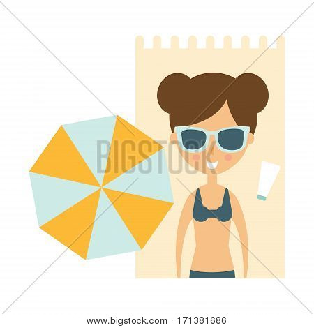 Woman Laying On Blanket On Sand Under Umbrella, Part Of Summer Beach Vacation Series Of Illustrations. Seaside Holidays Related Infographic Icon In Primitive Vector Carton Style.