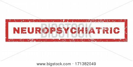 Neuropsychiatric text rubber seal stamp watermark. Caption inside rectangular banner with grunge design and unclean texture. Horizontal vector red ink sign on a white background.