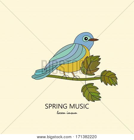 Vector modern logo. A tit on a branch. Romantic spring vector illustration with the titmouse.