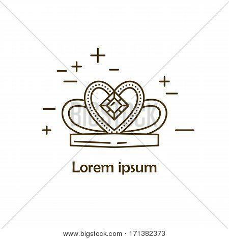 Jewelry deadem symbol vector illustration. Diamond logo symbol. Fashion luxury gift icon isolated. Gold brilliant silver gem crystal accessories silhouette