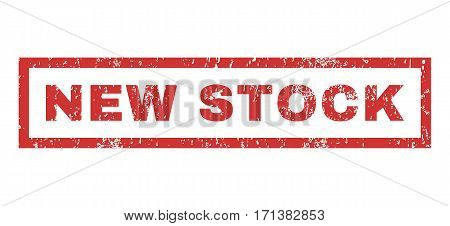 New Stock text rubber seal stamp watermark. Tag inside rectangular shape with grunge design and unclean texture. Horizontal vector red ink sticker on a white background.