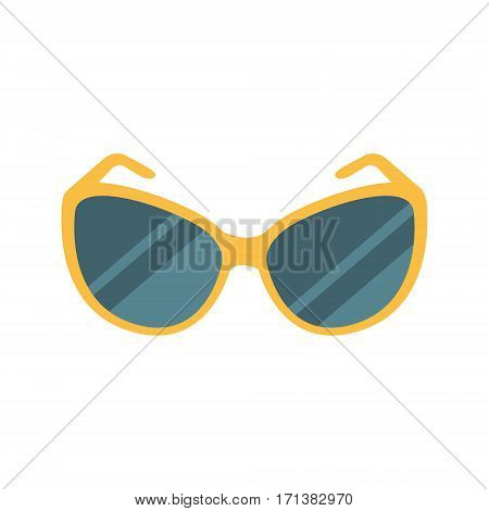 Stylish Dark Shades Eye Protection Against Sun Accessory, Part Of Summer Beach Vacation Series Of Illustrations. Seaside Holidays Related Infographic Icon In Primitive Vector Carton Style.