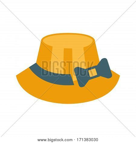 Female Straw Hat With Ribbon And Bow, Part Of Summer Beach Vacation Series Of Illustrations. Seaside Holidays Related Infographic Icon In Primitive Vector Carton Style.