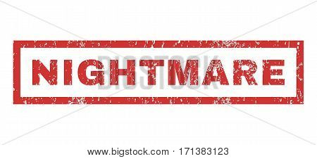 Nightmare text rubber seal stamp watermark. Tag inside rectangular shape with grunge design and dust texture. Horizontal vector red ink emblem on a white background.
