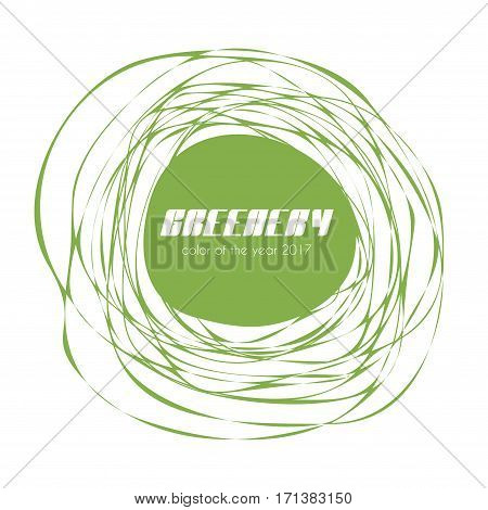 Greenery - color of the year 2017. Vector trendy label