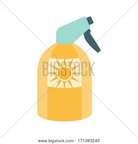 Sunscreen Spray Cosmetic Product In Yellow Bottle, Part Of Summer Beach Vacation Series Of Illustrations. Seaside Holidays Related Infographic Icon In Primitive Vector Carton Style.