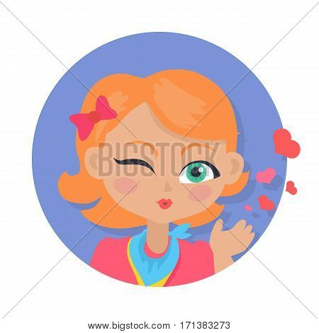 Young girl sent air kiss isolated on white. Little cartoon lady sent kisses. I love you, first date, Valentines Day. School girl give a wink. Romantic toddler. Vector illustration in flat style